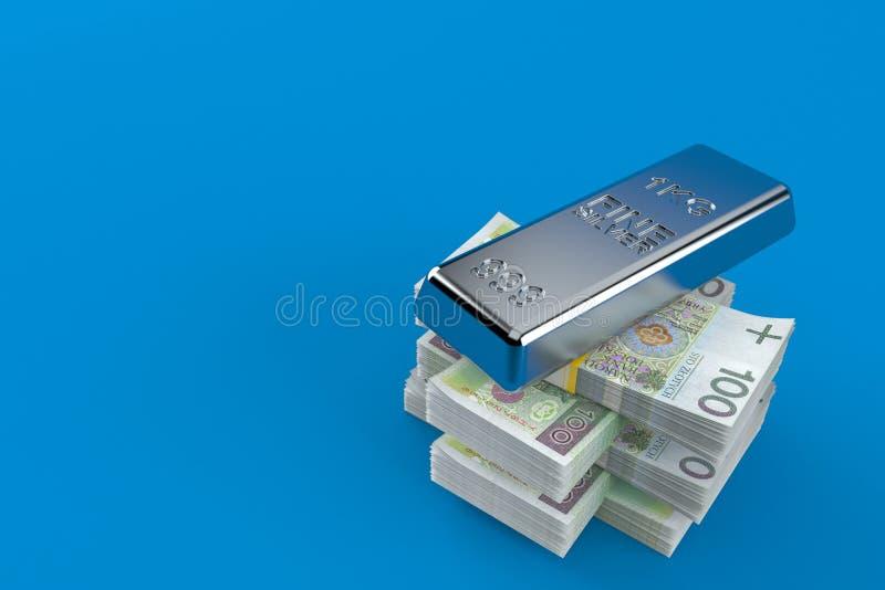 Серебряный слиток на стоге денег иллюстрация вектора