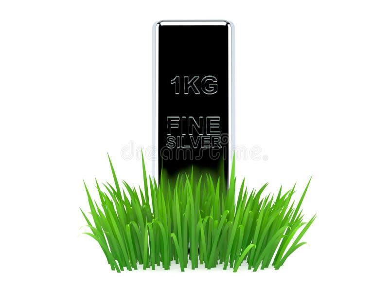 Серебряный слиток на траве бесплатная иллюстрация