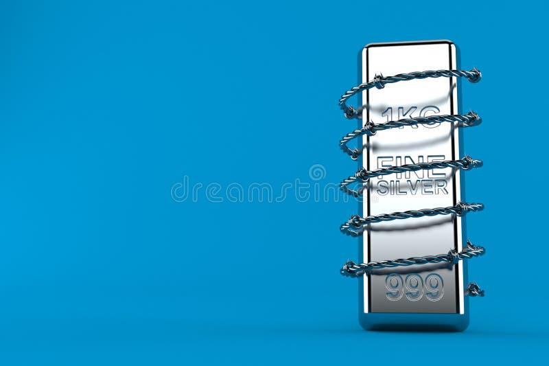 Серебряный слиток с колючей проволокой иллюстрация штока