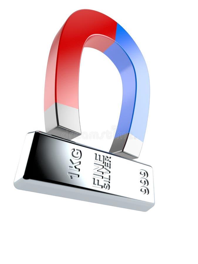 Серебряный слиток с подковообразным магнитом иллюстрация вектора