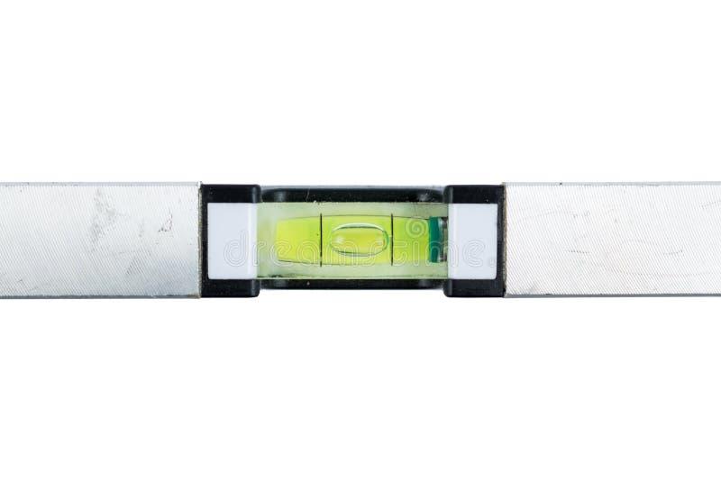 Серебряный уровень духа изолированный на белой предпосылке стена инструмента ролика картины конструкции крытая Рычаг духа металла стоковая фотография rf