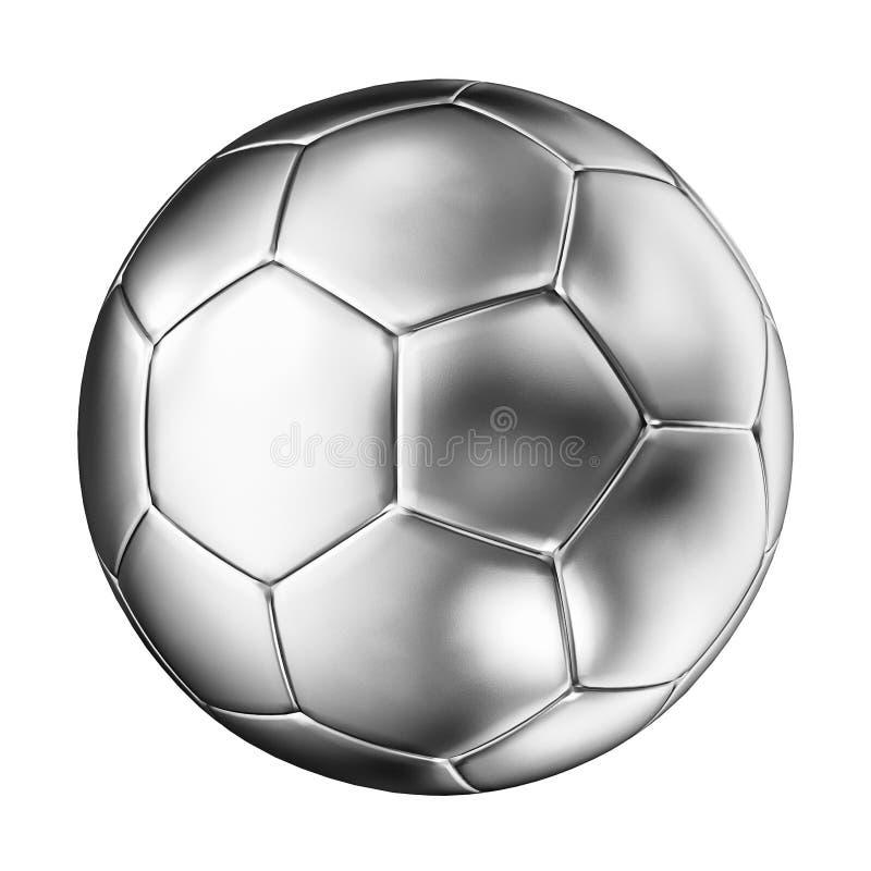 Серебряный футбольный мяч иллюстрация вектора