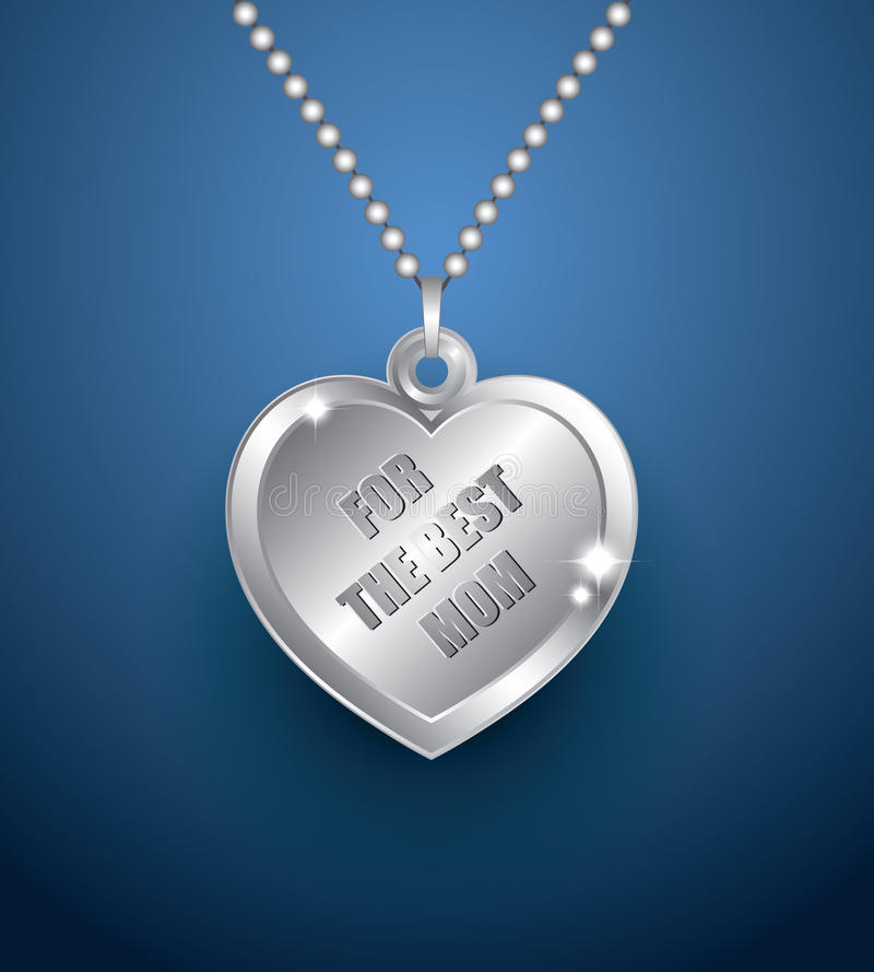 Серебряный шкентель сердца иллюстрация вектора