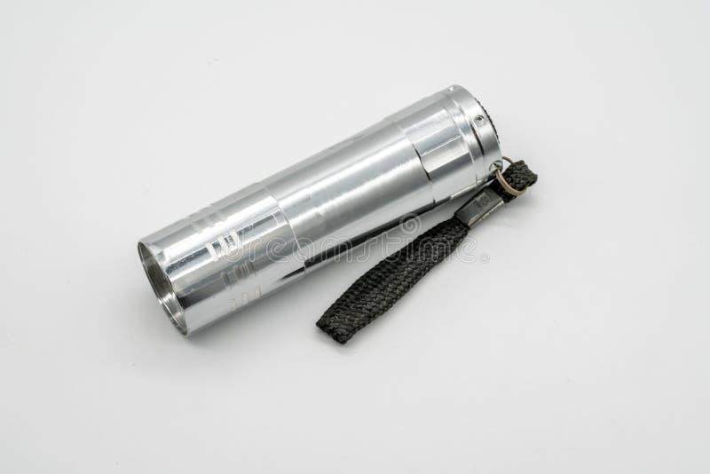 Серебряный электрофонарь металла изолированный на белой предпосылке стоковые изображения rf