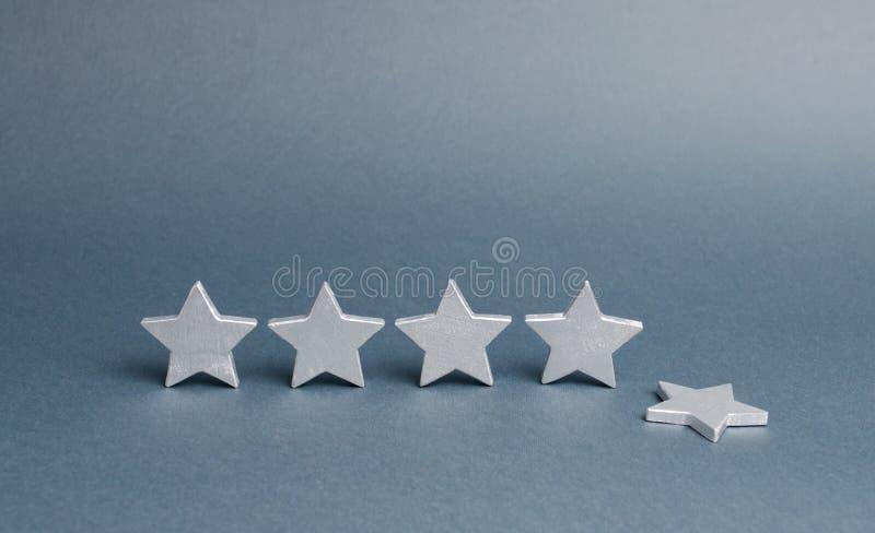 5 серебряных звезд, одна звезда упали Потеря оценки и уровня, уменьшающ престижность и репутацию Оценка и состояние ресторана стоковые фотографии rf