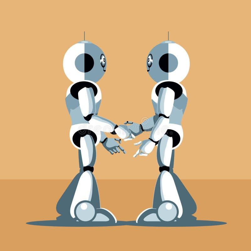 2 серебряных робота гуманоида тряся руки иллюстрация штока