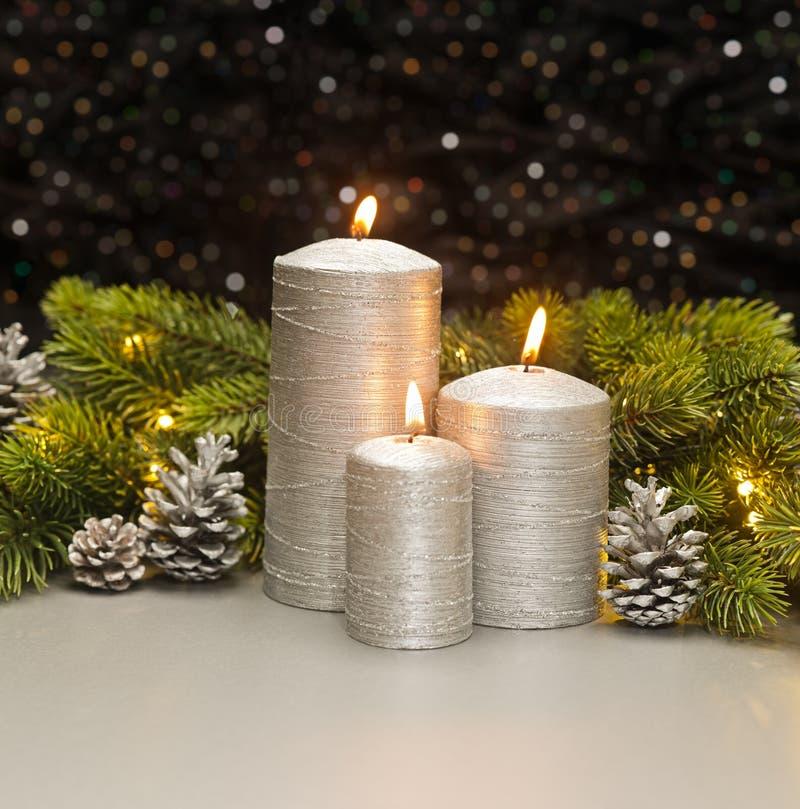 3 серебряных свечи стоковая фотография