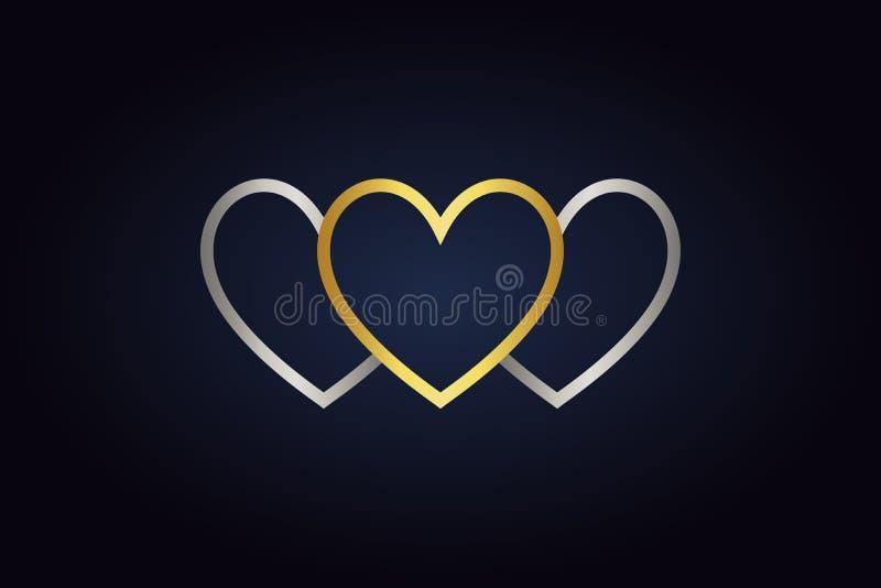 2 серебряных части сердец и одного золотого сердца иллюстрация вектора