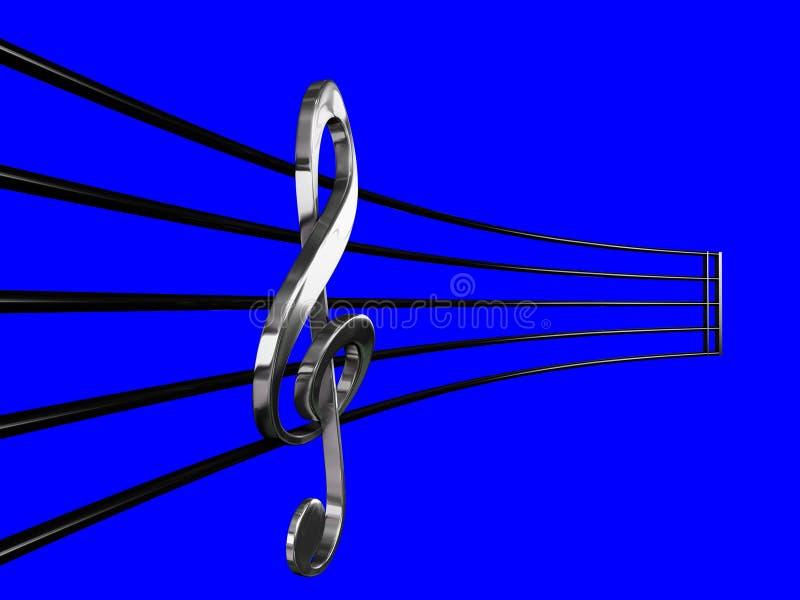 Серебр дискантового ключа в нотах перспективы с голубой иллюстрацией предпосылки 3D иллюстрация вектора