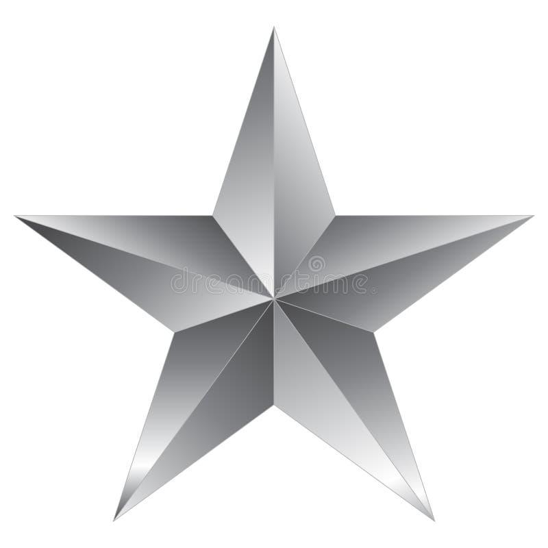 Серебр звезды рождества - звезда 5 пунктов - изолированный на белизне иллюстрация вектора