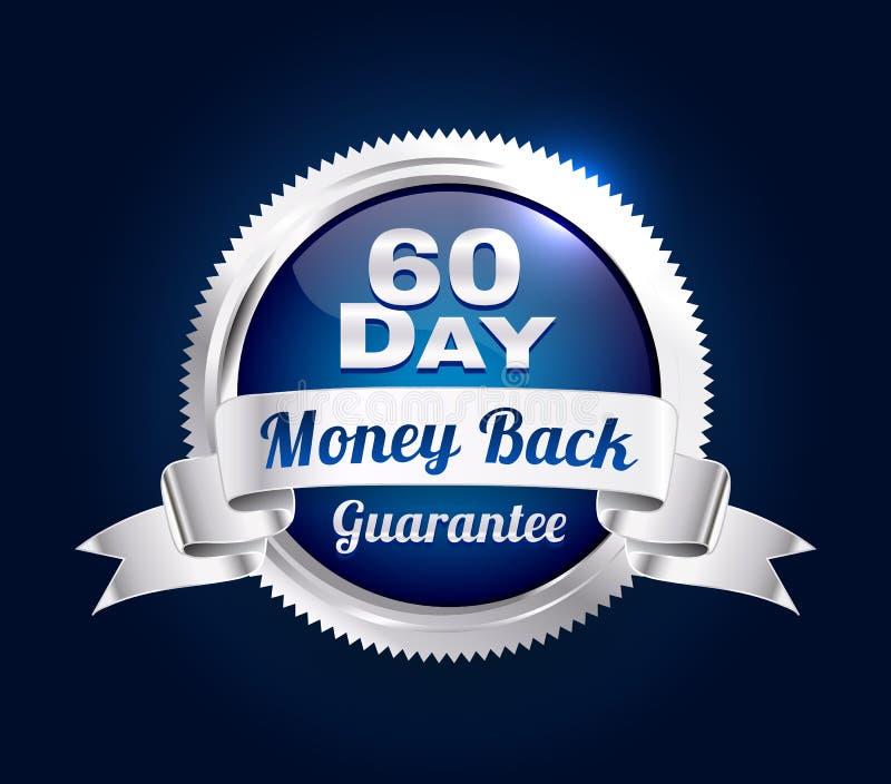 Серебр значок гарантии 60 дней иллюстрация штока