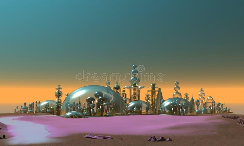 серебр золота города стеклянный иллюстрация штока
