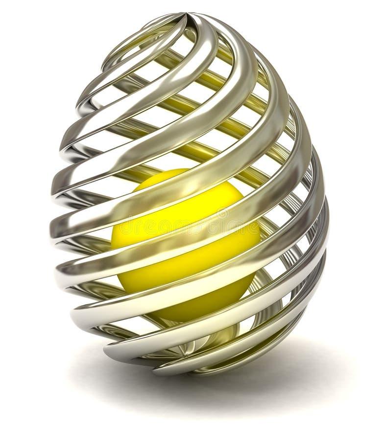 серебр золота пасхального яйца 3d абстрактный иллюстрация вектора