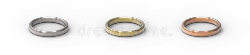Серебр, золото, медные кольца изолированные на белой предпосылке 3d разрывают иллюстрация вектора