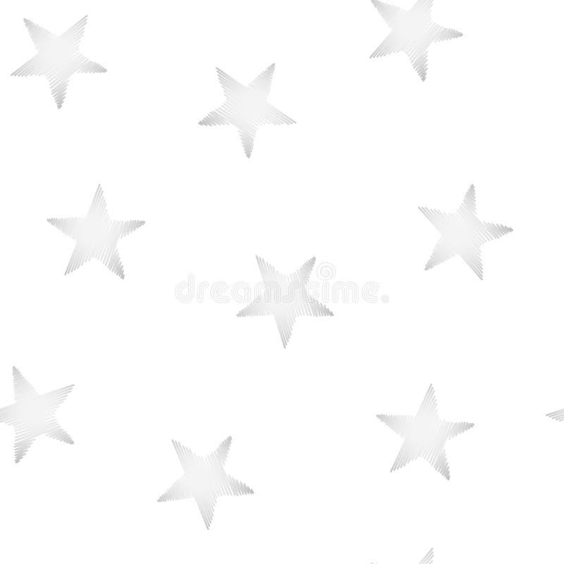 Серебр играет главные роли вышивка шить безшовную картину иллюстрация вектора
