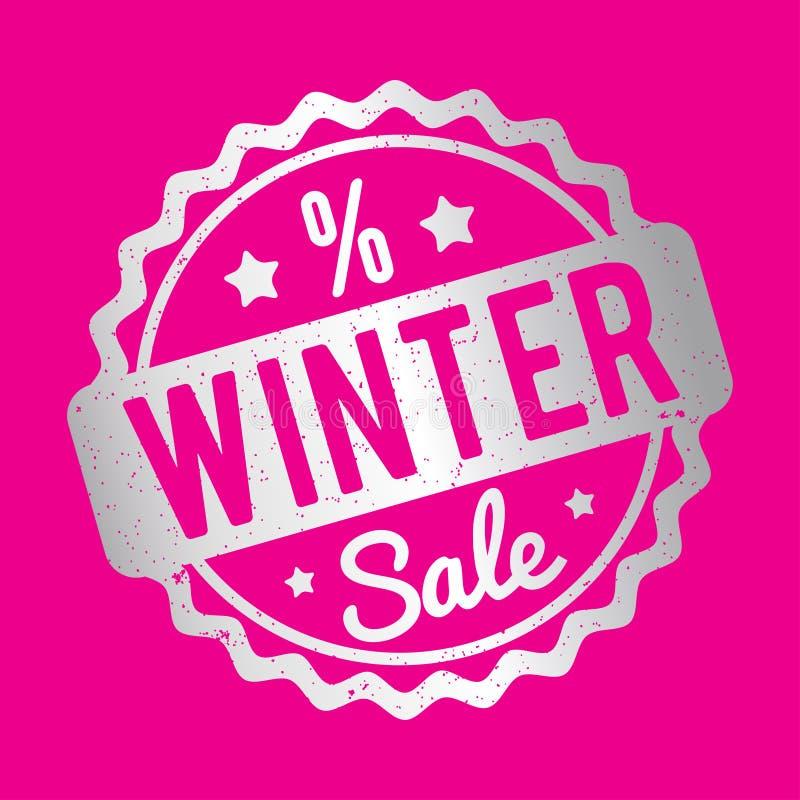 Серебр избитой фразы продажи зимы на розовой предпосылке иллюстрация вектора