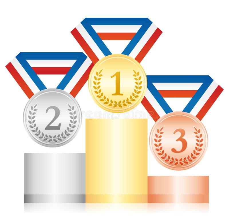 Серебр и бронзовые медали золота на подиуме Значок спорта церемонии вручения премии Голубая белая и красная лента бесплатная иллюстрация