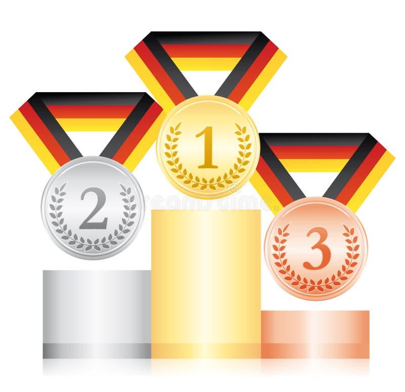 Серебр и бронзовые медали золота на подиуме Значок спорта церемонии вручения премии Черная красная и желтая лента Немецкий флаг л иллюстрация вектора