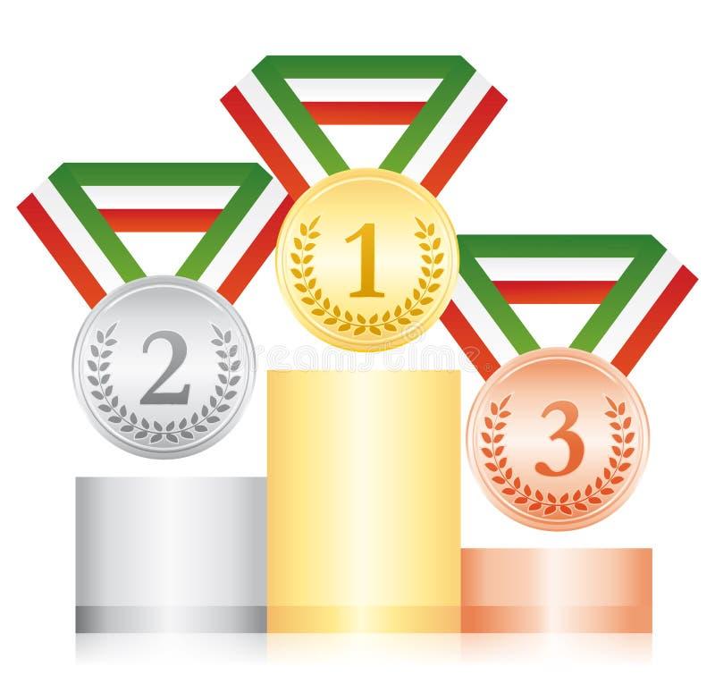 Серебр и бронзовые медали золота на подиуме Значок спорта церемонии вручения премии Зеленая белая и красная лента иллюстрация штока