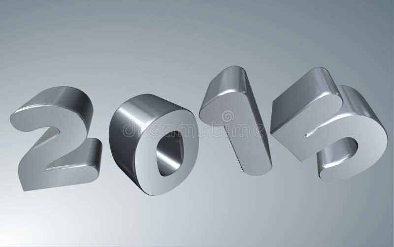 Серебр карточка 3D 2015 Новых Годов иллюстрация вектора