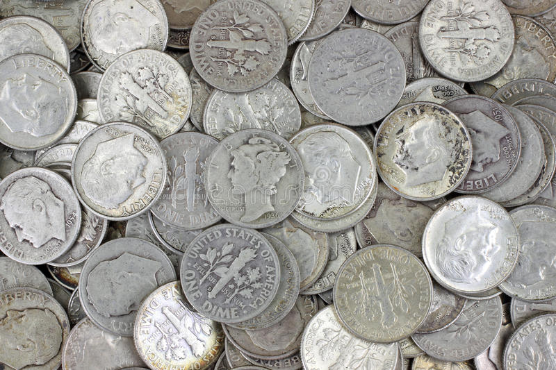 серебр монета в 10 центов старый стоковое фото rf