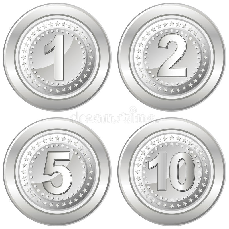 серебр монеток иллюстрация штока