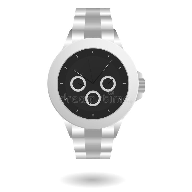 Серебр наручных часов иллюстрация вектора