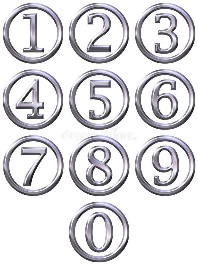 серебр обрамленных номеров 3d иллюстрация вектора