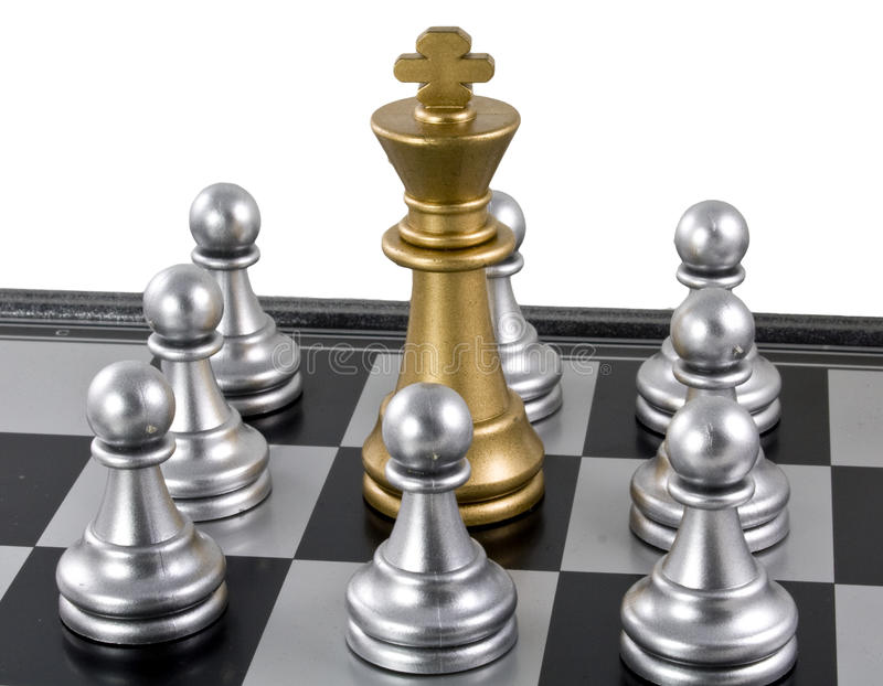 серебр пешки короля золота стоковая фотография rf