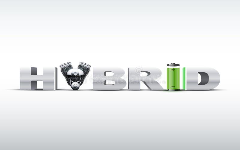 Серебр помечает буквами гибрид дальше с двигателем и батареей иллюстрация штока