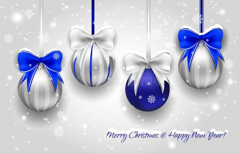 Серебр рождества и голубые декоративные шарики иллюстрация вектора