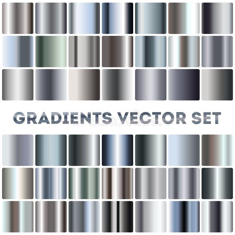 Серебр, сталь, комплект вектора градиентов хрома иллюстрация вектора