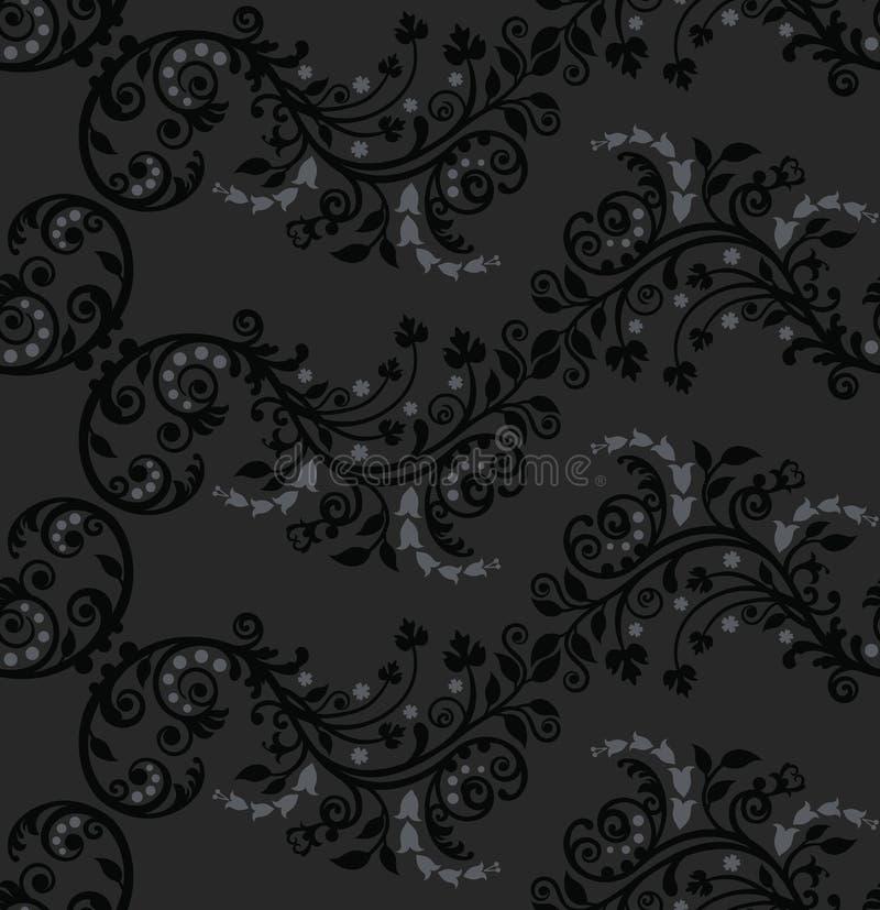 серебр черной картины листва безшовный иллюстрация вектора