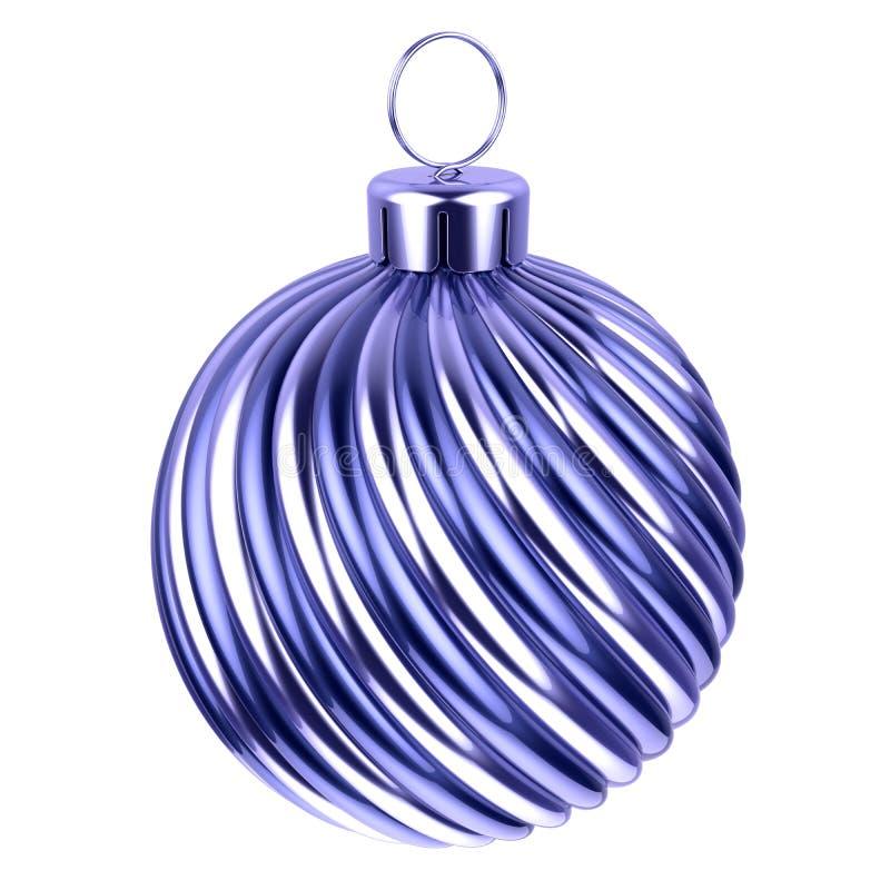 Серебр шарика рождества сияющий покрашенный голубой иллюстрация штока