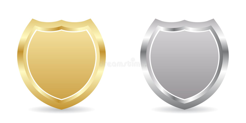 серебр 2 значков золотистый иллюстрация вектора