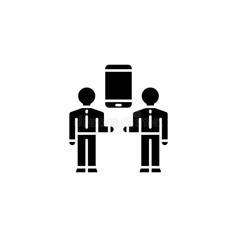 Середины концепции значка черноты связи Середины символа вектора связи плоского, знака, иллюстрации бесплатная иллюстрация