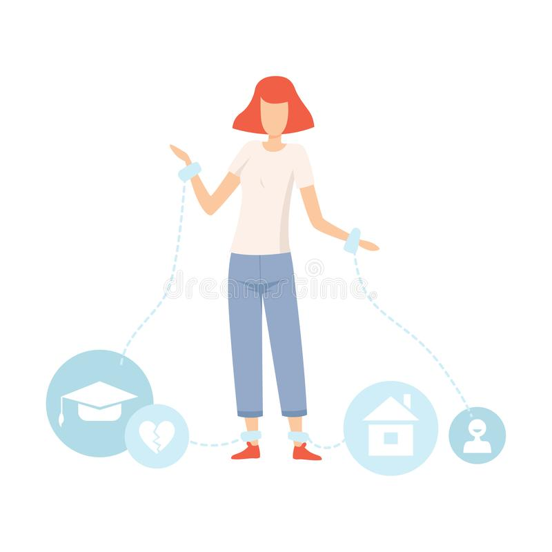 Сережки предназначенной для подростков девушки нося, проблемы полового созревания подростка, девушка испытывая стресс, уча пробле иллюстрация штока