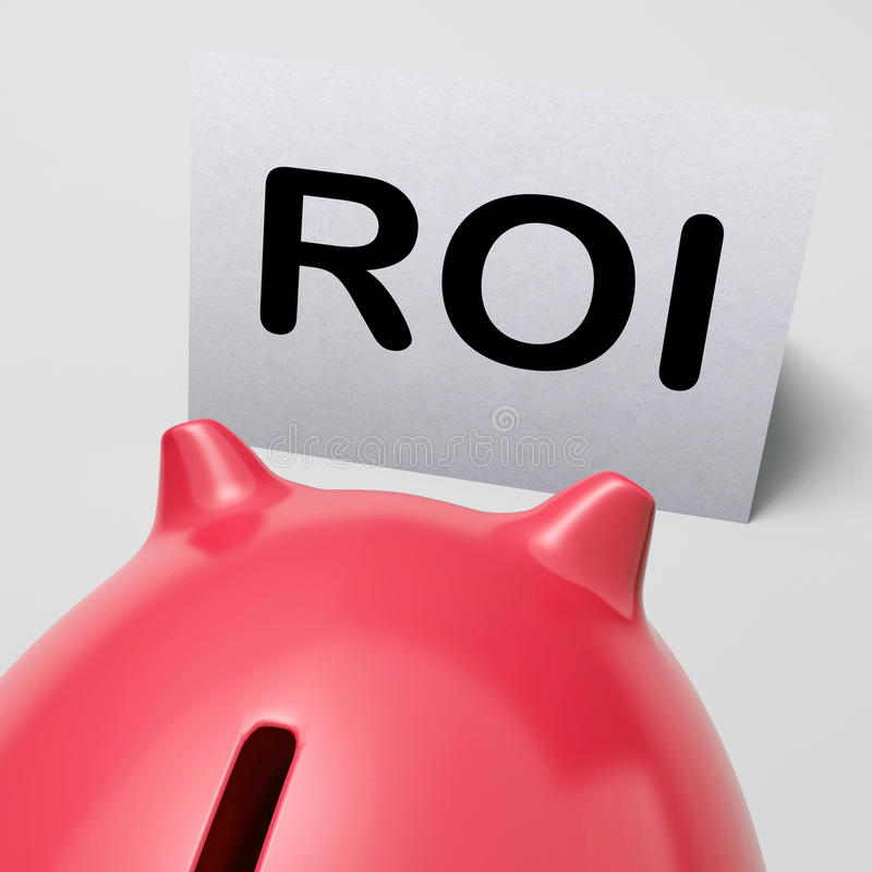 Середины копилки ROI инвестируя финансирование и возвращение иллюстрация штока