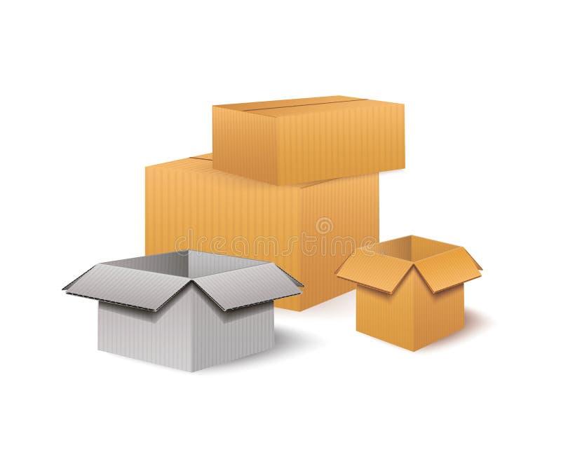 Серии картонных коробок Снабжение и концепция хранения склада транспорта Иллюстрация вектора изолированная на белой предпосылке бесплатная иллюстрация