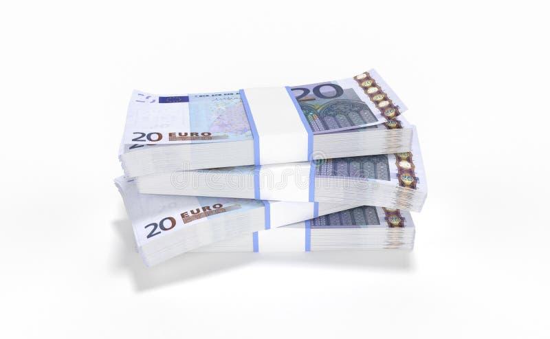 20 серий денег евро формируя кучу изолированную на белой предпосылке иллюстрация вектора