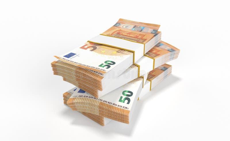 50 серий денег евро формируя кучу изолированную на белой предпосылке иллюстрация штока