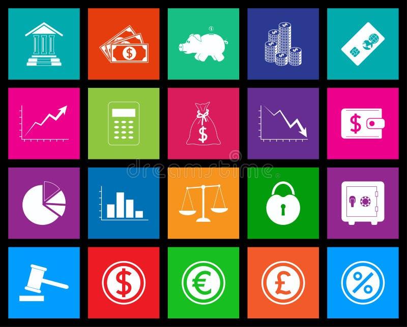 Серия значка финансов в стиле метро иллюстрация штока