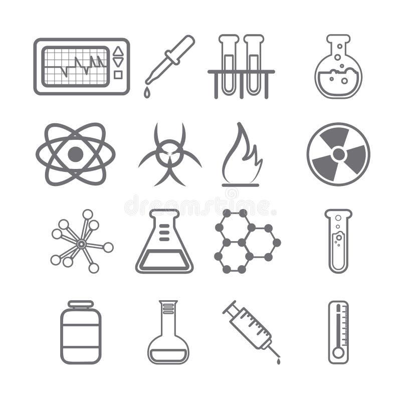 Серия значков науки черная иллюстрация вектора