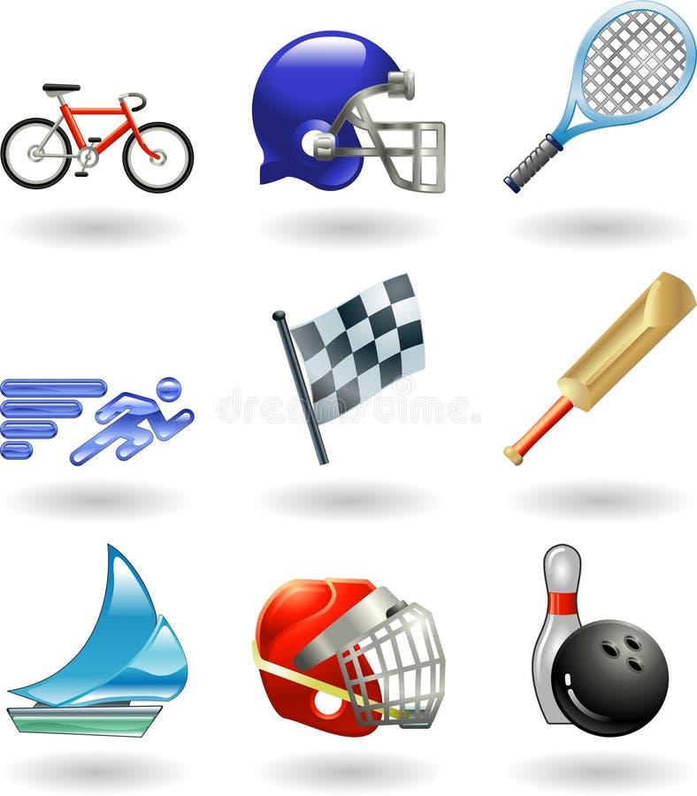 серия иконы установила глянцеватые спорты иллюстрация вектора