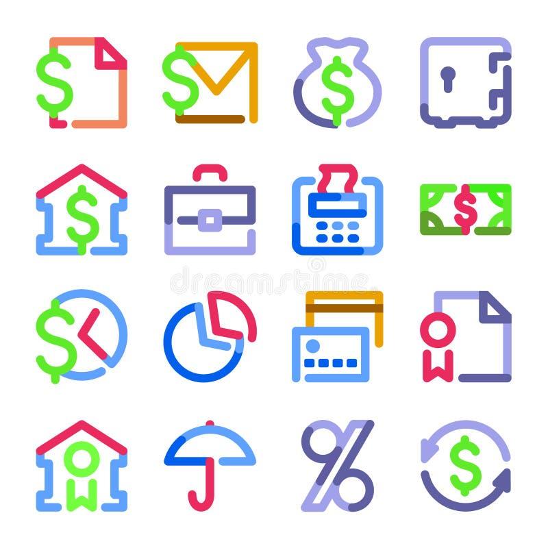 серия икон финансов контура цвета иллюстрация вектора