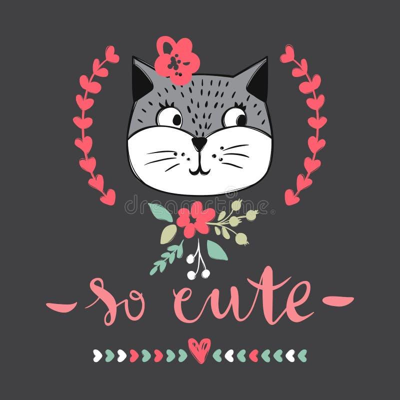 Серия карточки вектора с милыми котами моды Стильный комплект котенка T иллюстрация вектора