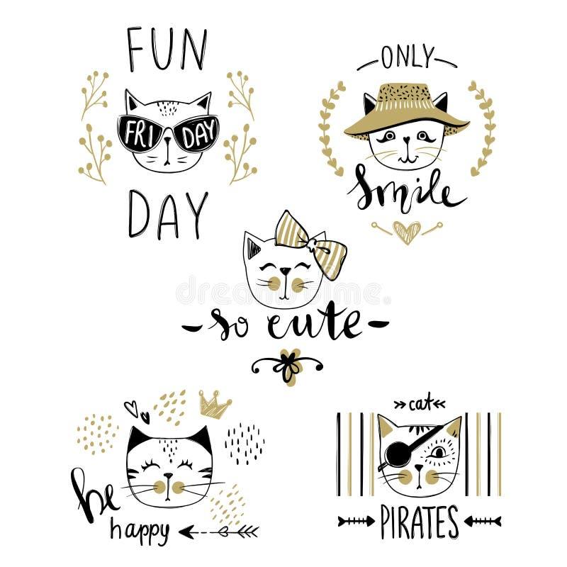 Серия карточки вектора с милыми котами моды Стильный комплект котенка T иллюстрация штока