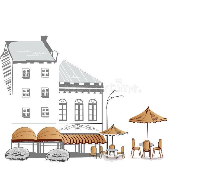 серия кафа делает эскиз к улицам бесплатная иллюстрация