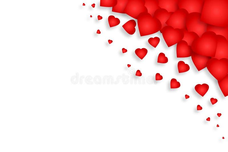 Серия красных сердец на белой предпосылке изолировано День матери, предпосылка дня Валентайн бесплатная иллюстрация