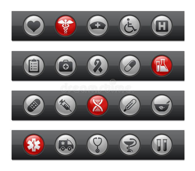 серия микстуры вереска внимательности кнопки штанги иллюстрация вектора
